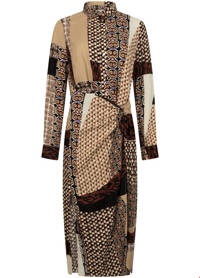 Tramontana jurk met all over print bruin, Bruin