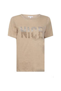 Tramontana T-shirt met tekst en strass steentjes zand, Zand