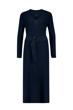wollen maxi jurk met ceintuur donkerblauw