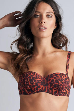 strapless beugel bikinitop Panthera rood/zwart