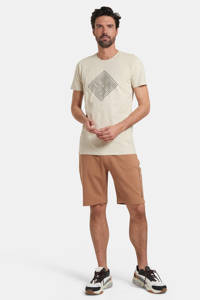 Refill by Shoeby slim fit sweatshort Harm met tekst lichtbruin, Lichtbruin