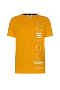 Jill & Mitch by Shoeby T-shirt Liam met printopdruk geel/wit, Geel/wit