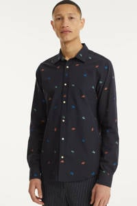 Scotch & Soda regular fit overhemd met all over print donkerblauw, Donkerblauw