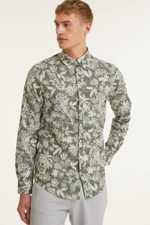 gebloemd regular fit overhemd grijsgroen