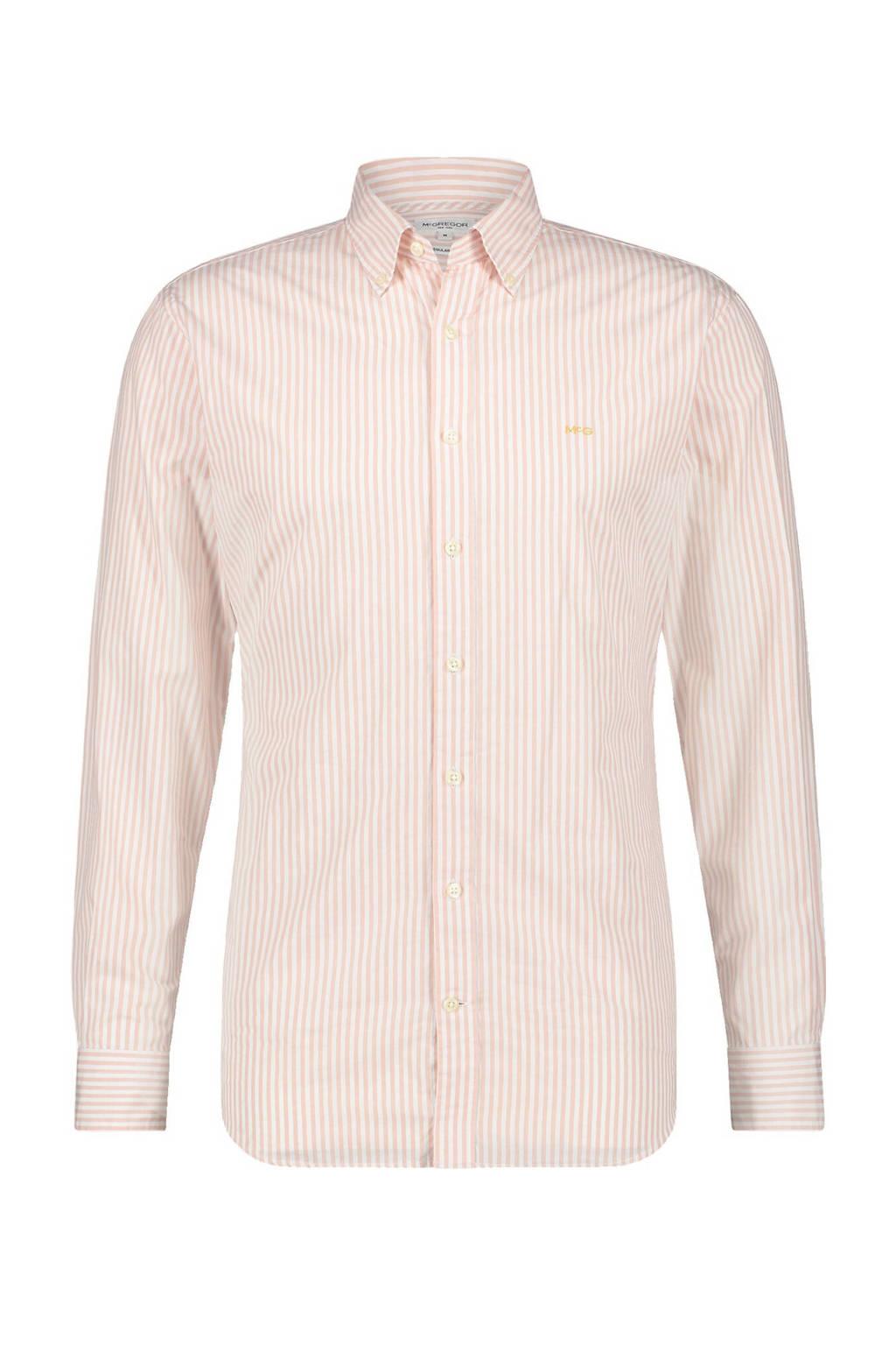 McGregor gestreept regular fit overhemd lichtroze/wit, Lichtroze/wit