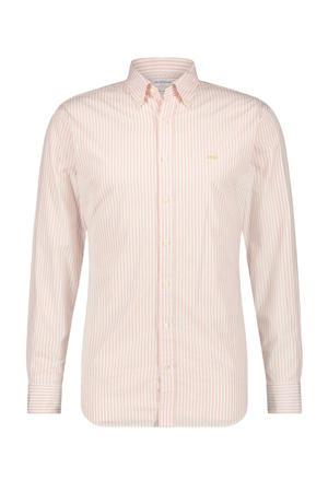 gestreept regular fit overhemd lichtroze/wit