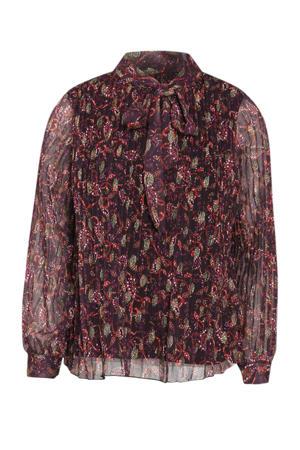 semi-transparante blouse met all over print donkerpaars/rood/olijfgroen