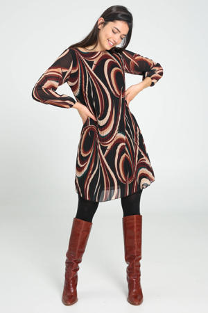 semi-transparante jurk met all over print zwart/donkerrood/lichtbruin