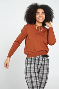 Cassis fijngebreide trui met vleermuismouwen donker oranje, Donker oranje