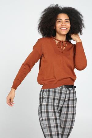 fijngebreide trui met vleermuismouwen donker oranje