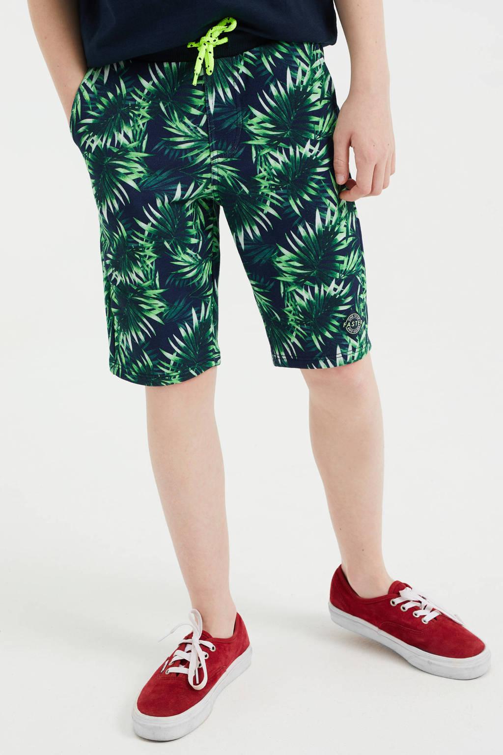 WE Fashion slim fit sweatshort met bladprint multi color, Multi color