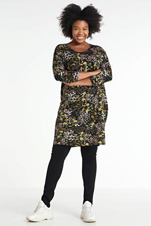 tuniek Gode met all over print zwart/geel/olijfgroen