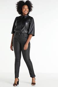 Zhenzi coated skinny broek CURVE zwart, Zwart