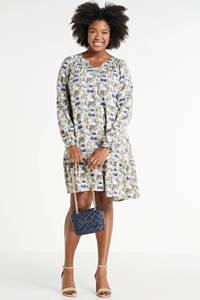 Zhenzi gebloemde jurk Mate wit/donkerpaars/lichtgeel, Wit/donkerpaars/lichtgeel