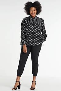 Zhenzi blouse Kuli met stippen zwart/wit, Zwart/wit