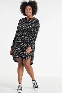 Zhenzi blousejurk Kuli met stippen zwart/wit, Zwart/wit