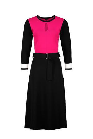 jurk met open detail roze/zwart/wit