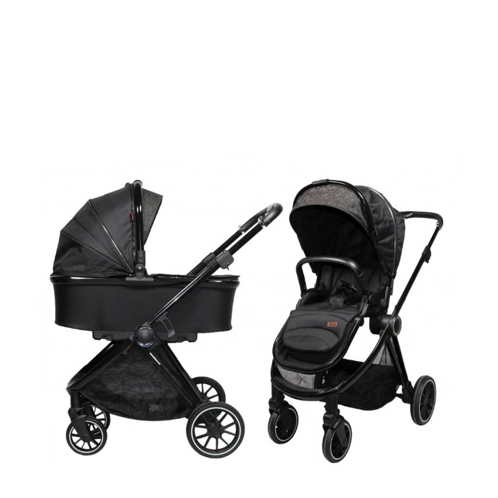Ding Fenix Kinderwagen Black/Black, Zwart