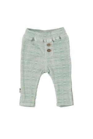 B.E.S.S baby gestreepte regular fit broek groen/wit