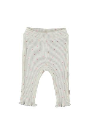 B.E.S.S baby regular fit broek met stippen ecru/lichtroze