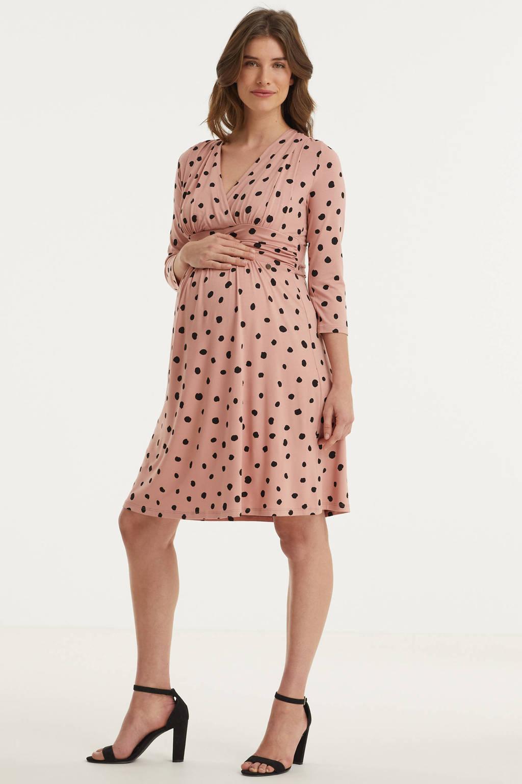 LOVE2WAIT zwangerschaps- en voedingsjurk met stippen en plooien roze/zwart, Roze/zwart