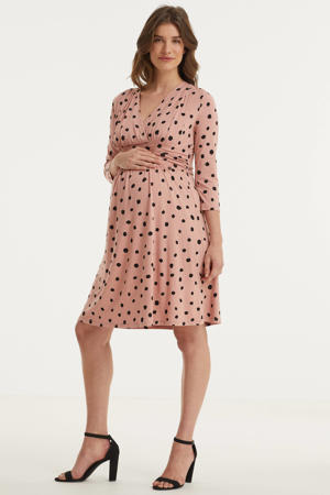 zwangerschaps- en voedingsjurk met stippen en plooien roze/zwart