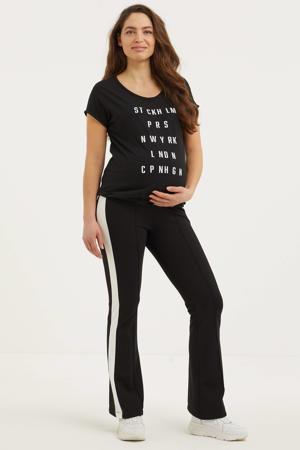 zwangerschapsshirt met tekst zwart/wit