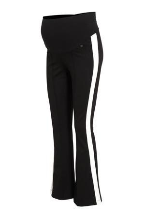 low waist skinny zwangerschapsbroek met zijstreep zwart/wit