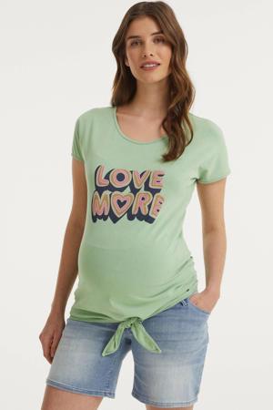 zwangerschapsshirt met printopdruk mintgroen
