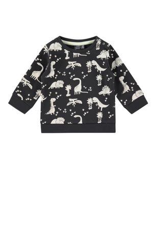 baby sweater met biologisch katoen antraciet/ecru
