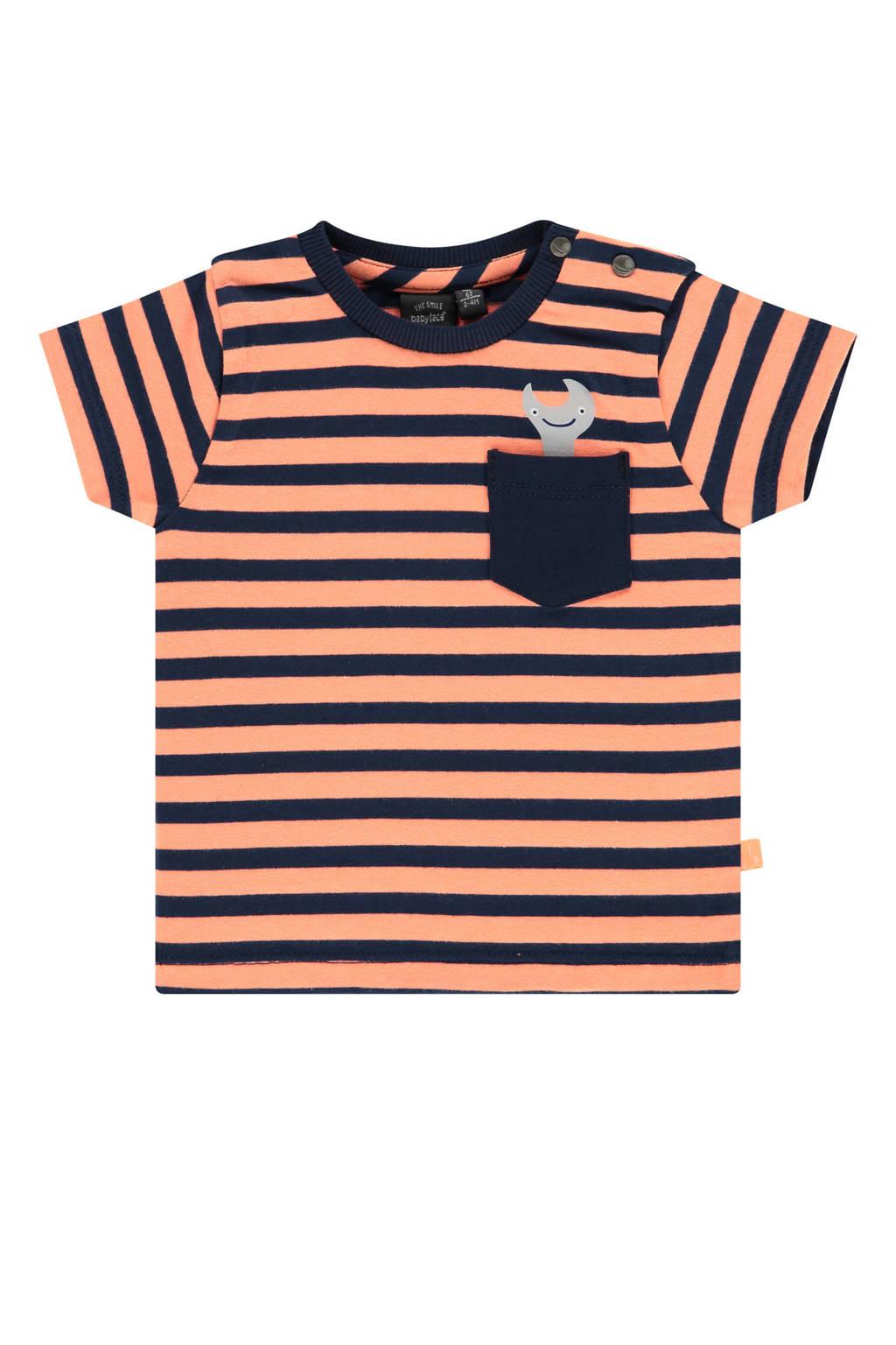 Babyface baby gestreept T-shirt neon oranje/donkerblauw