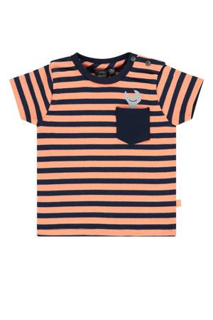 baby gestreept T-shirt neon oranje/donkerblauw