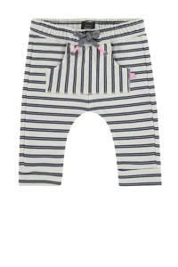 Babyface baby gestreepte regular fit broek met biologisch katoen ecru/zwart/roze, Ecru/zwart/roze