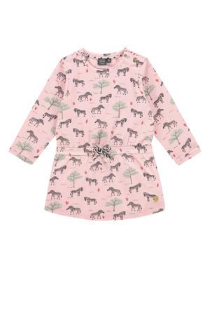 jurk met all over print roze/mintgroen/zwart