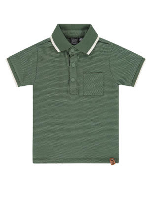 polo met all over print groen/wit