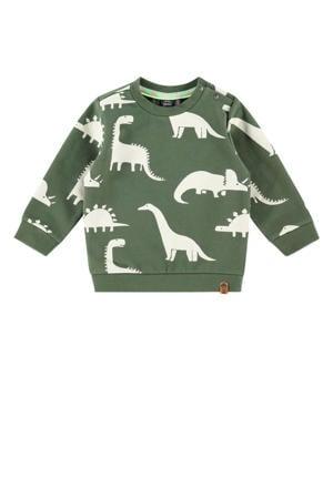 sweater met all over print army groen