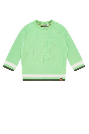 sweater felgroen/wit/army groen
