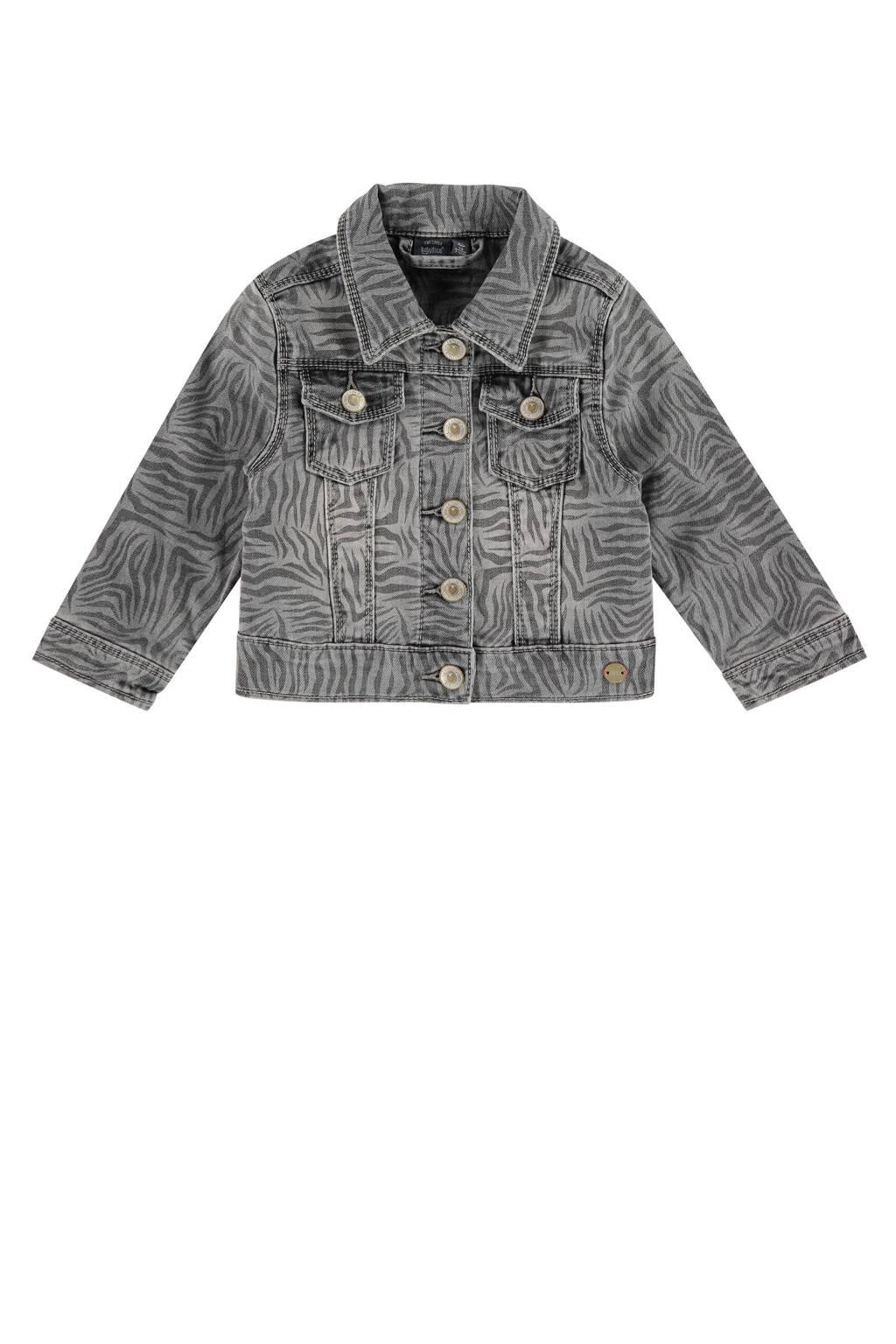 Babyface spijkerjas met all over print grijs stonewashed, Grijs stonewashed