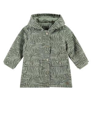 zomerjas met all over print olijfgroen
