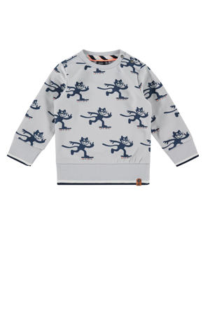 sweater met all over print lichtgrijs