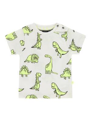 baby T-shirt met biologisch katoen wit/neongeel