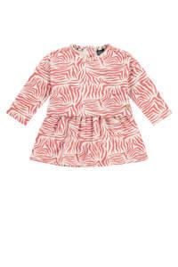 Babyface jurk met all over print en plooien oudroze/wit, Oudroze/wit