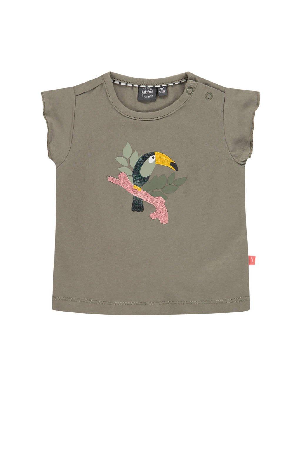 Babyface baby T-shirt met biologisch katoen mosgroen, Mosgroen