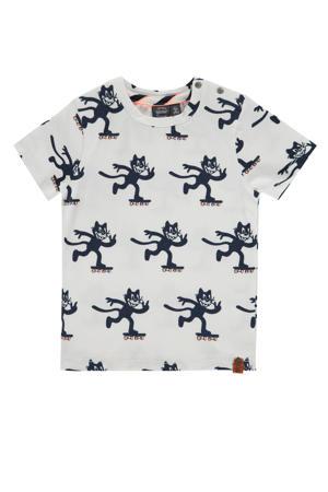 T-shirt met dierenprint wit/blauw