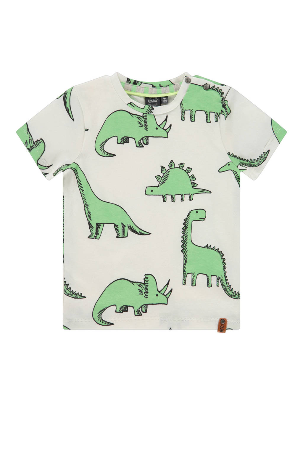 Babyface T-shirt met dierenprint wit/groen, Wit/groen