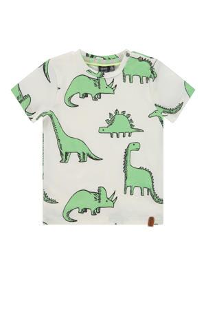 T-shirt met dierenprint wit/groen
