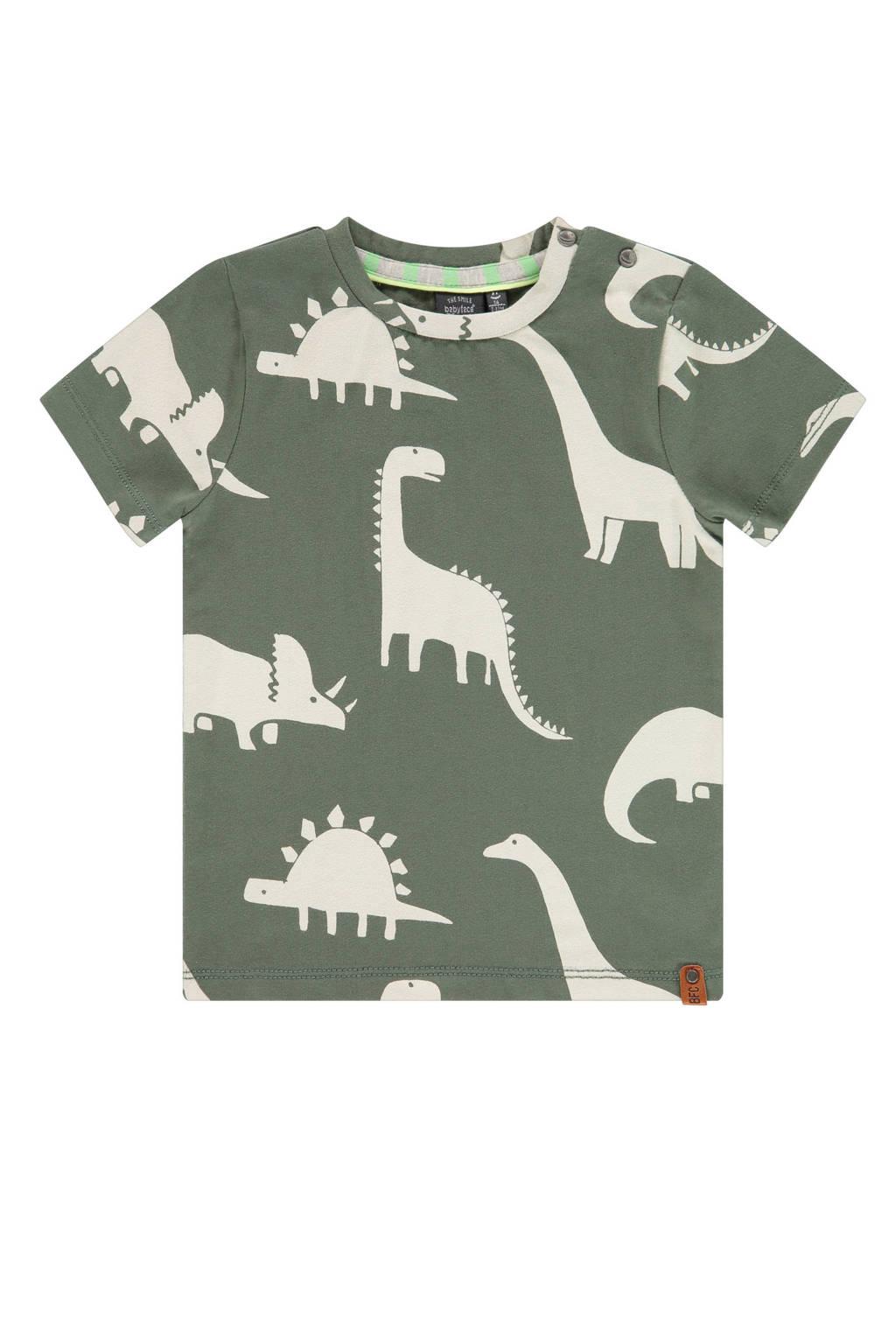 Babyface T-shirt met dierenprint donkergroen/gebroken wit, Donkergroen/gebroken wit