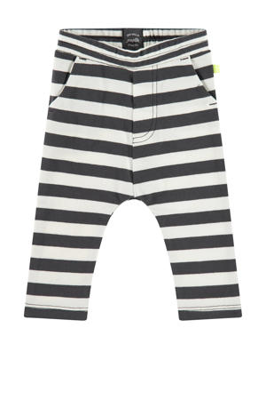 baby gestreepte regular fit broek met biologisch katoen antraciet/wit