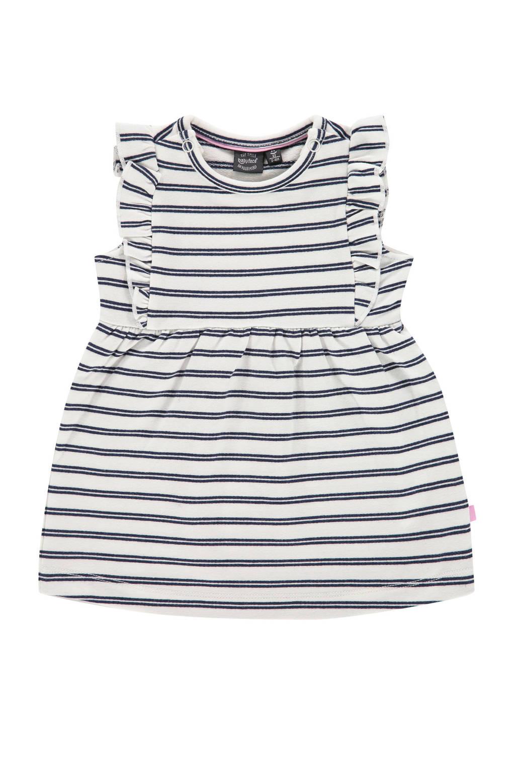 Babyface gestreepte baby jurk met biologisch katoen ecru/donkerblauw, Ecru/donkerblauw