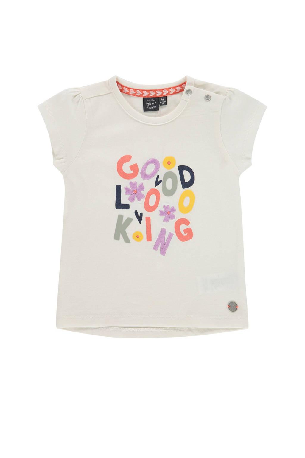 Babyface T-shirt met tekst ecru, Ecru